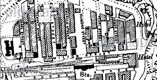 Map showing the position of Alpha Place at the top of Ruby and Garnet Street. the building completely blocks Milton Street.