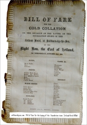 Bill of fare for the laying of the foundation stone of the Zetland Hotel 1861