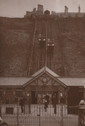 Edwardian view of cliff lift